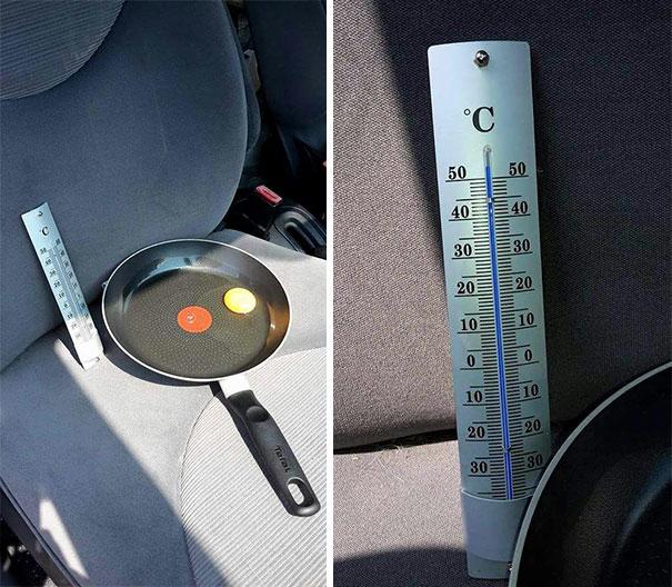 การทดลองเอาไข่ไว้ในรถ